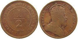 coin Straits Settlements 1/2 cent 1908
