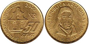 coin Argentina 50 centavos 2000 150 years since the birth of Hose San Martin