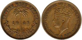 coin ONE SHILLING BRITHSH WEST AFRICA GEORGIVS VI