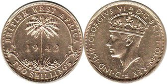 coin TWO SHILLINGS 1942 BRITHSH WEST AFRICA GEORGIVS VI