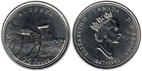 coin canadian commemorative coin 25 cents 1992 Alberta