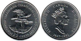 coin canadian commemorative coin 25 cents 1992 North West Territories