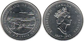 coin canadian commemorative coin 25 cents 1992 Prince Edward Island