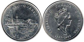 coin canadian commemorative coin 25 cents 1992 Quebec