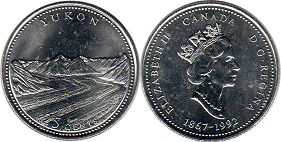 coin canadian commemorative coin 25 cents 1992 Yukon
