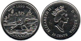 coin canadian commemorative coin 25 cents 1999