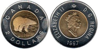 canadian coin 2 dollars 1996 toonie