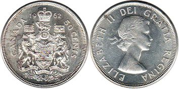canadian coin 50 cents 1962 silver