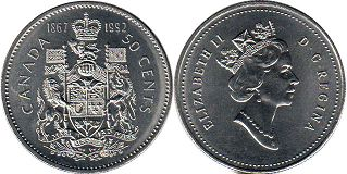 coin canadian commemorative coin 50 cents 1992 125th Anniversary of Confederation