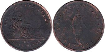 coin Нижняя Канада 1/2 пенни - Lower Canada 1/2 penny 1852