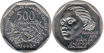 piece Central African States (CFA) 500 francs 1998