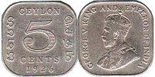 coin Ceylon 5 cents 1926