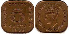 coin Ceylon 5 cents 1944