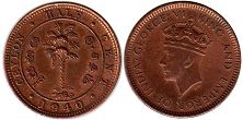 coin Ceylon 1/2 cent 1940