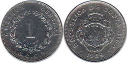 coin Costa Rica 1 colon 1989