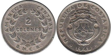 coin Costa Rica 2 colones 1948