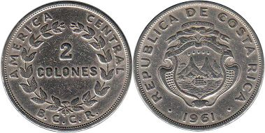 coin Costa Rica 2 colones 1961