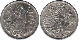 coin Ethiopia 25 cents 1977
