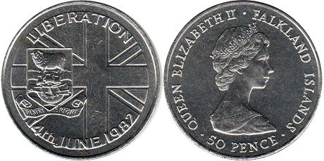 coin Falkland Islands 50 pence 1982 Liberation