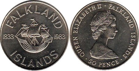 coin Falkland Islands 50 pence 1983 150th Anniversary