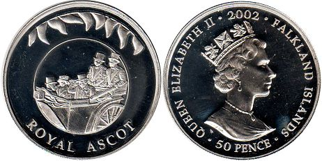 coin Falkland Islands 50 pence 2002 ROYAL ASCOT