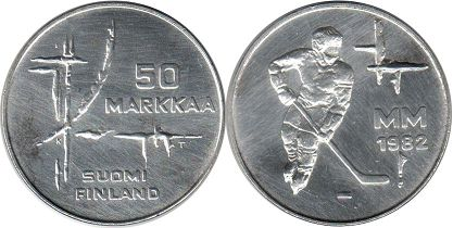 coin Finland 50 markka 1982 Hockey