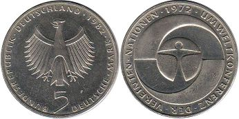 coin Germany BDR 5 mark 1982