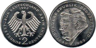 coin Germany BDR 2 mark 1992 Strauss