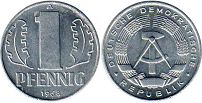 coin Germany Democratic 1 pfennig 1968