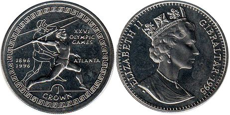 coin Gibraltar 1 crown 1995