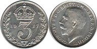 coin Great Britain 3 pence 1917