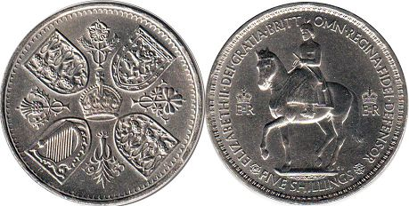 coin Great Britain 5 shilling 1953