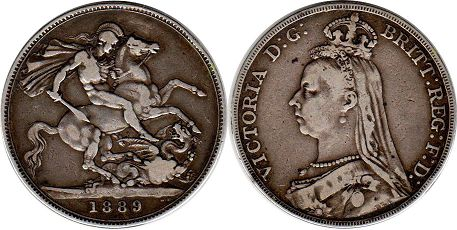 coin Great Britain crown 1889