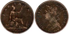coin Great Britain farthing 1890