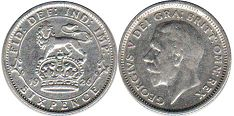 coin Great Britain 6 pence 1926