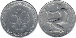 coin Hungary 50 fillers 1948