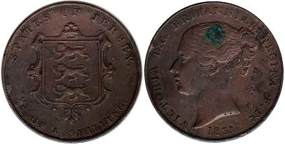 coin Jersey 1/13 of shilling 1861