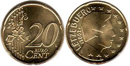 coin Luxemburg 20 euro cents 2002