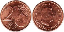 coin Luxemburg 2 euro cents 2002