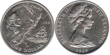 coin New Zealand 1 dollar 1969