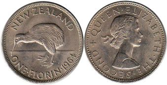 coin New Zealand florin 1964