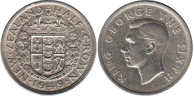 coin New Zealand 1/2 crown 1949