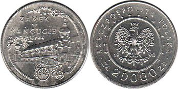 coin Poland 20000 zloty 1993 Lancut Castle