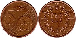 coin Portugal 5 euro cent  2002