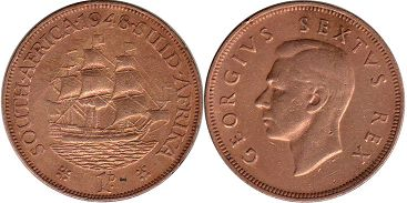 old coin South Africa 1 penny 1948