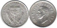 old coin South Africa 3 pence 1949