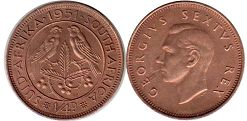 old coin South Africa 1/4 penny 1951