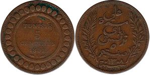 piece Tunisia 5 centimes 1891