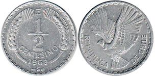 moneda Chille 1/2 centesimo 1963