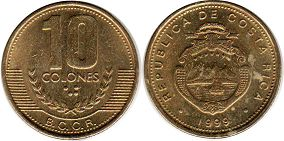 coin Costa Rica 10 colones 1999